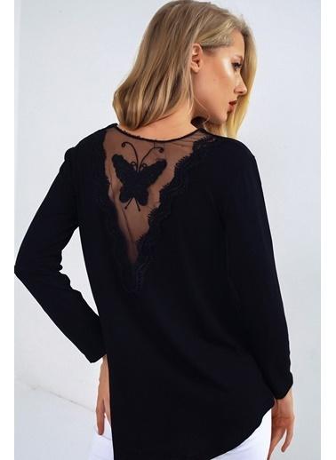 Emjey Sırtı Kelebek Dantellı Bluz Siyah